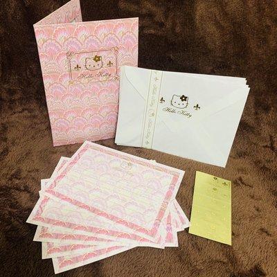 三麗鷗 Hello Kitty 金色閃閃 粉紅羽毛 信紙 信封 貼紙 日本 正版