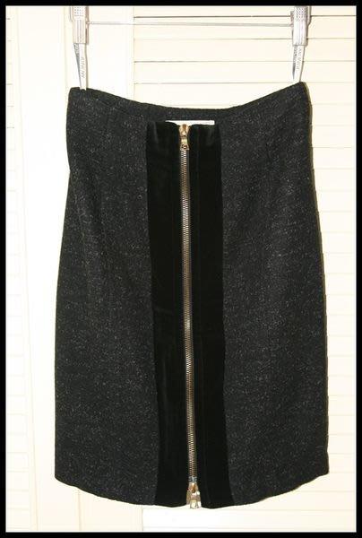 $599起標德國名品【MONDI】純黑絲絨異材拼接羊毛鉛筆裙