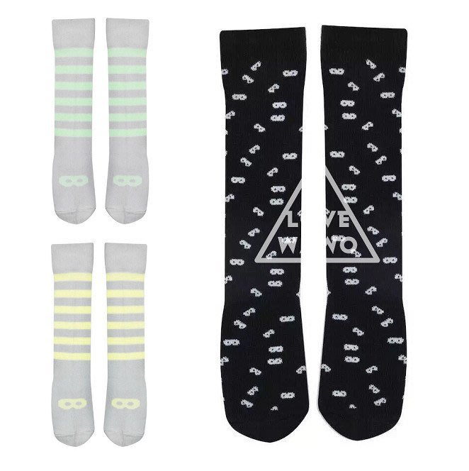 【 I Love wawo 】歐美 潮流 螢光 條紋 黑白配色 眼鏡 中筒襪 長襪 襪子 童襪 兒童 寶寶嬰兒