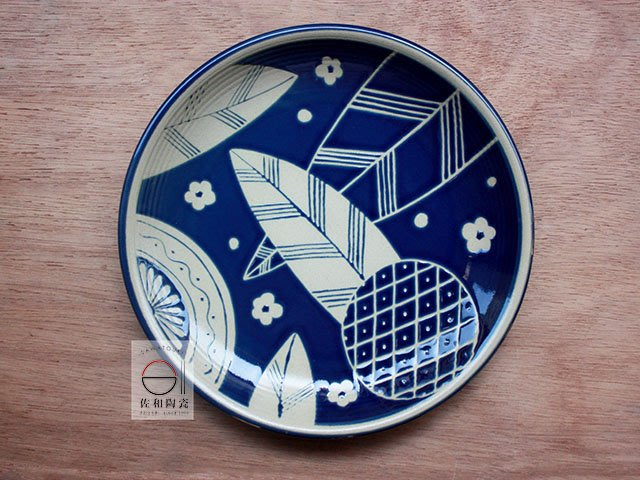 +佐和陶瓷餐具批發+【XL070914-17藍葉紋10吋圓皿-日本製】日本製 圓盤 圓皿 和食器 營業餐具 餐盤 備料盤