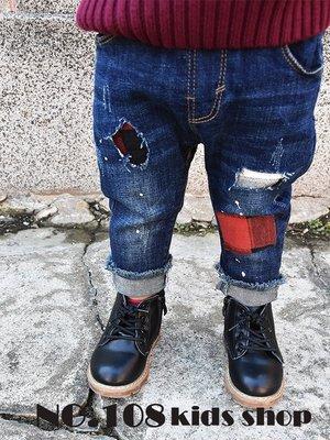 🚛NO.108童衣著【現貨】男童90~110cm中性補丁貼格紋 磨邊抽鬚褲腳 鬆緊腰圍 牛仔長褲