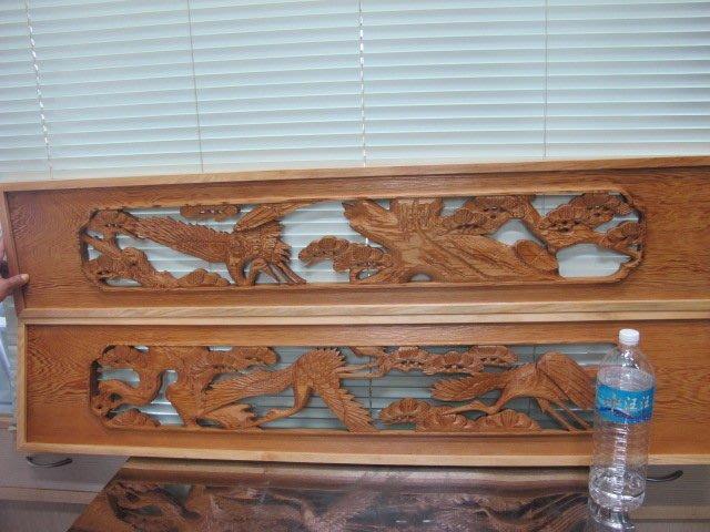 二手舖 NO.1385 早期老件 檜木 紅檜 雙面木雕 雕工精細 吊飾 可做間隔板 2入/組