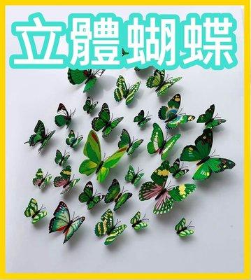 3D仿真PVC立體彩色蝴蝶12隻套裝 壁貼牆貼冰箱貼天花板貼窗簾貼櫥窗布告欄 創意/裝飾/布置/居家/園藝/現貨L05