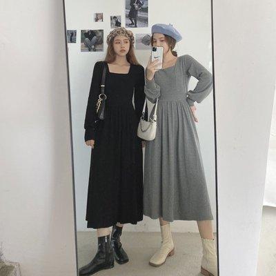 香格里拉炸街裙子洋裝女秋法式小眾長裙收腰顯瘦方領露背御姐連身裙氣質輕熟風