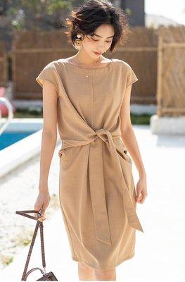 短袖洋裝 (SDP2175) 實拍法式優雅收腰顯瘦寬鬆連身裙 有4色 M-L