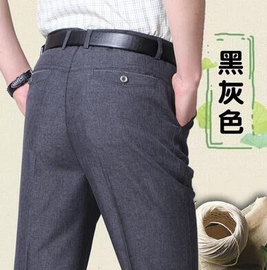 夏季薄款亞麻褲男裝西褲爸爸褲子寬鬆中年男士休閒褲中老新品年人男褲 型男小鋪