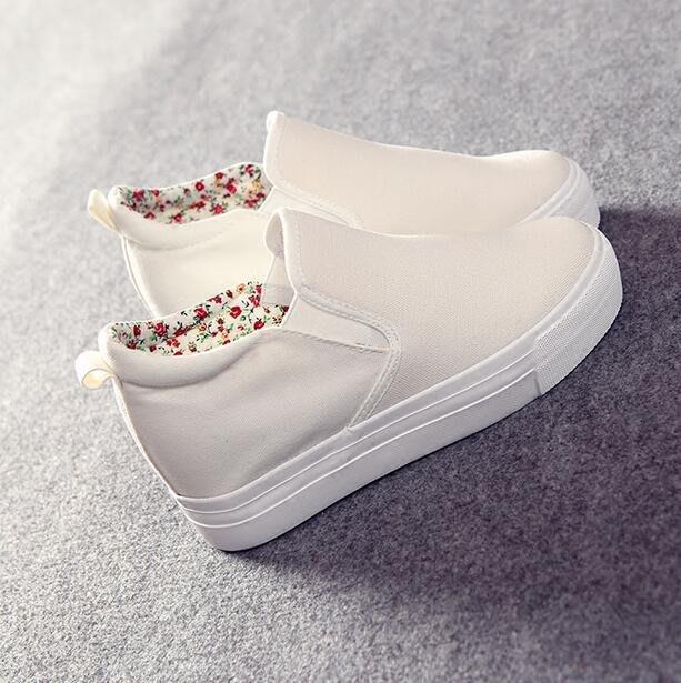 小白鞋 厚底帆布鞋  女鞋  內增高休閑鞋  懶人鞋—莎芭