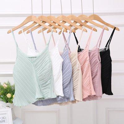 2018夏季新款甜美氣質蕾絲拼接百褶吊帶顯瘦V領背心荷葉邊上衣女