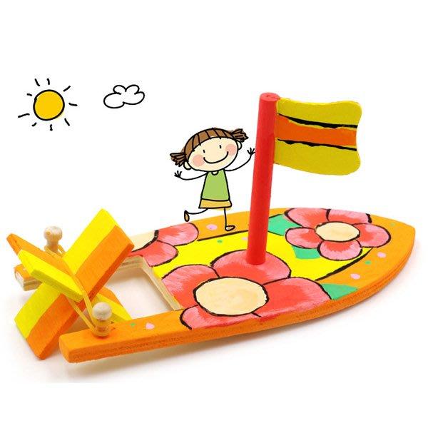 兒童DIY繪畫塗鴉原木帆船【JC3785】《Jami Honey》