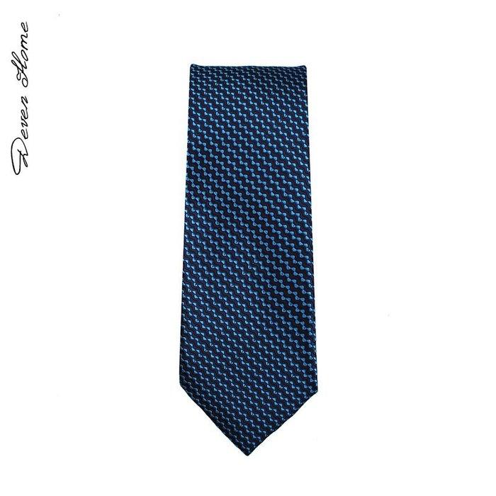 之家男士時尚商務領帶花紋正裝韓版7cm藏青色深藍色波紋領帶