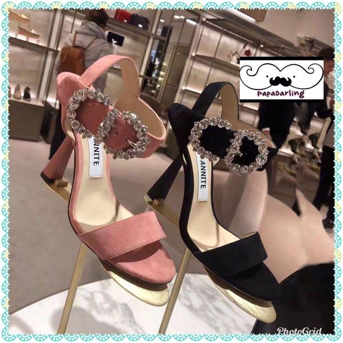 PapaDarling 19SS 超美歐美時尚潮流一字扣水鑽方釦高跟涼鞋