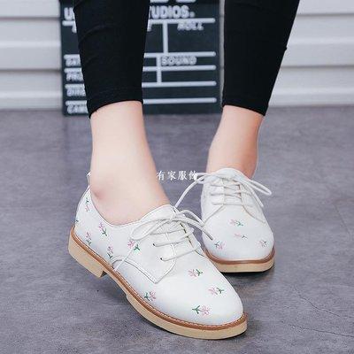 有家服飾2019春新款復古小白鞋英倫風平底單鞋百搭正韓系帶花朵女鞋學生