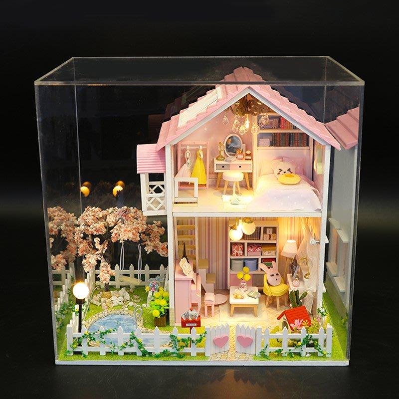 益智拼圖 手工創意 diy小屋櫻花樹之戀日式閣樓大別墅房子建筑模型拼裝手工制作禮物
