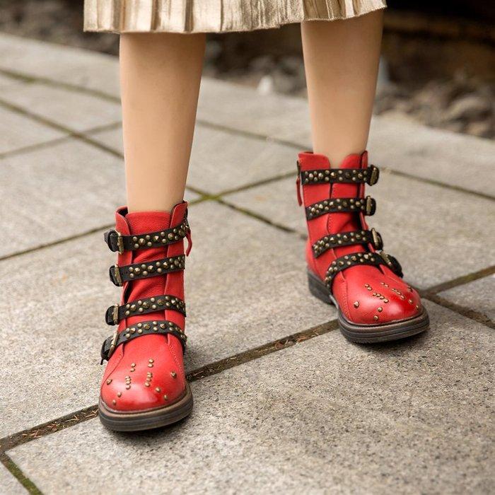 ~皮皮創~原創設計手工鞋。復古百搭個性撞色真皮機車靴馬丁靴牛皮羊皮拼色做舊復古鉚釘靴皮帶扣真皮短靴