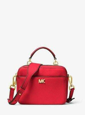 MICHAEL KORS Mott 紅色荔枝紋皮革方形兩用手提/斜背包(小)