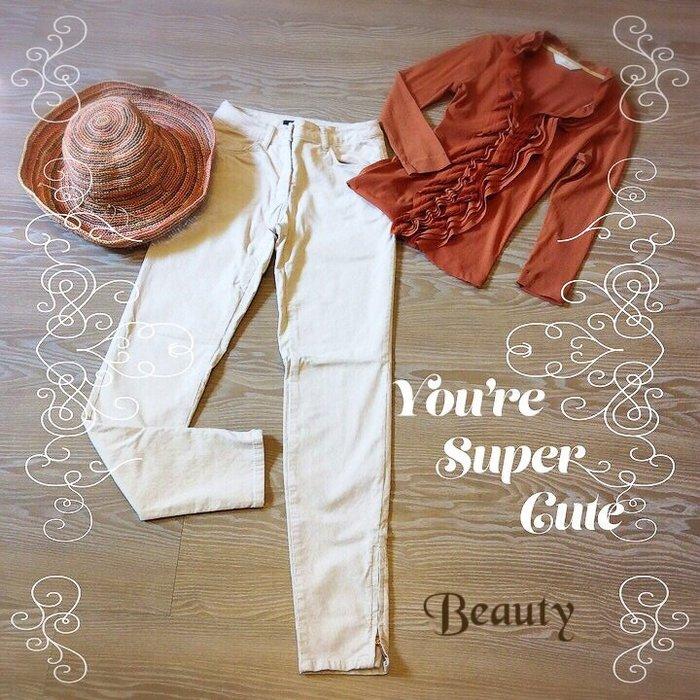 *Beauty*H&M米白色細絨長褲 窄褲管 鉛筆褲 CR