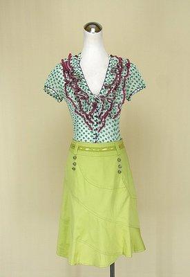 ◄貞新►SEDUCE 蘋果綠V領短袖雪紡紗上衣M(6號)+Wei Ma 米詩格 蘋果綠緞面蕾絲棉質短裙S號(71189)