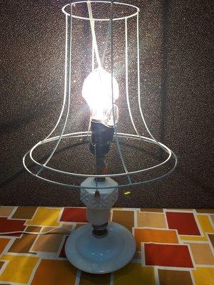 復古珍藏館 白瓷奶油檯燈/ 古董老檯燈