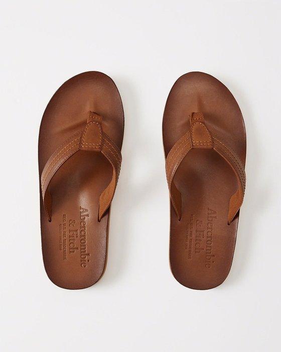 美國百分百【Abercrombie & Fitch】鞋子 AF 配件 夾腳拖鞋 人字拖 麋鹿 真皮皮革 焦糖色 I226