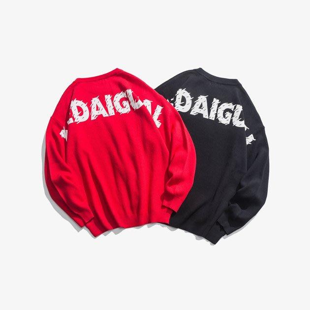 FINDSENSE 2019 秋季上新 G7 黑色红色双色字母素面毛衣 男裝 上衣