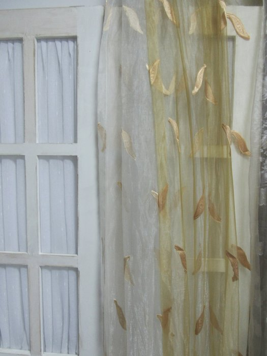 [W059]窗簾 窗紗No.2黃葉白紗 No.3黃葉黃紗  特價出清  無接縫紗 簡約 清爽