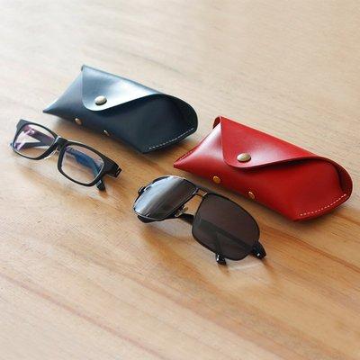 手工真皮眼鏡盒男女近視眼鏡盒太陽鏡盒刻字頭層牛皮005