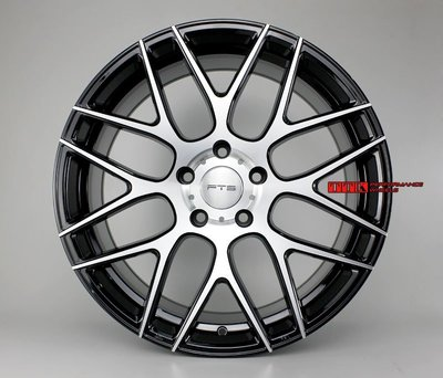 FLOW FORMING旋壓輕量化FTS名牌GT16 19吋前後配鋁圈8.5J+9.5J 5*112~120適用 黑車面