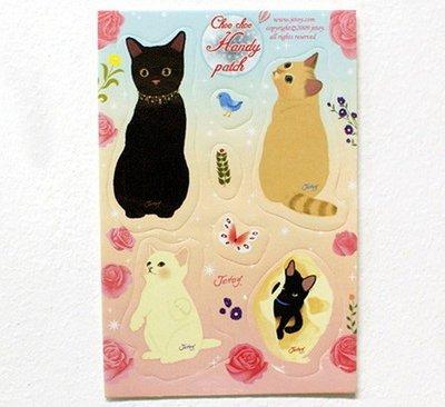 *YOOWOO*特賣【韓國空運 Jetoy Hand Patch 可愛貓咪 黑白 棕貓 萬用便利貼片 ~ 童話藍】