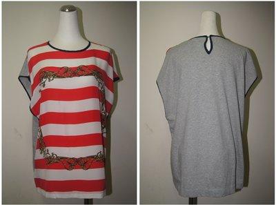 歐洲英國品牌 Mother of Pearl  紅色白橫條藤蔓短袖T恤  原價 9100