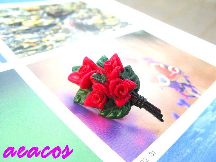AEACOS@古董 古著 vintage 標記 JAPAN BALLOU REG'D 綠葉襯托鮮紅玫瑰花硬塑料別針胸針
