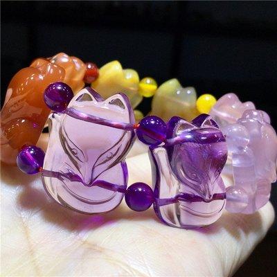 【水晶宮】天然多寶紫晶紅兔毛黃兔毛粉晶狐貍狐仙手鏈手排檔位掛飾