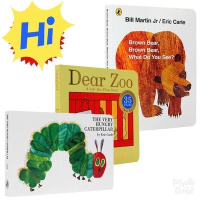 (現貨)英文原版brown bear棕熊Dear Zoo親愛的動物園The Very H好餓的毛毛蟲3册 紙版書