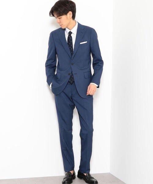 全新日本專櫃正品UNITED ARROWS 海軍藍羊毛混絲質格紋窄版西裝褲 S/M號