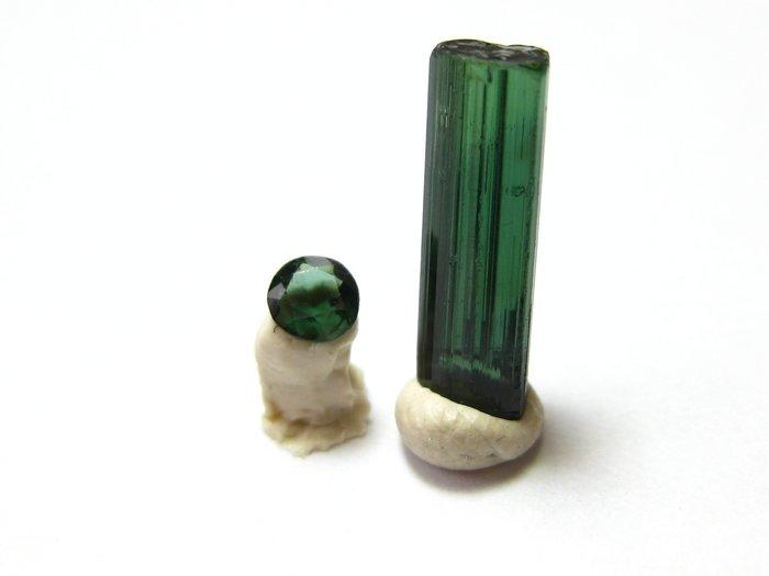 【Texture & Nobleness 低調與奢華】寶石&原礦 綠色碧璽切割寶石3MM&原礦1.8克拉