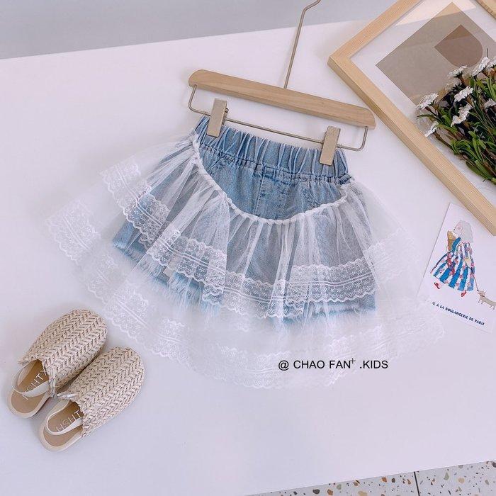 •*~ 辣媽咪衣飾小舖 ~*•❤童裝系列❤K040240韓版兒童夏款甜美洋氣網紗拼接水洗牛仔短褲