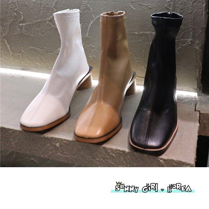 正韓短靴*Sunny Girl*韓國代購方頭粗跟後拉鏈純色馬丁靴女靴 2019九月新款 - [WH1357]