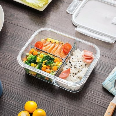 現貨/分隔微波爐玻璃飯盒加熱帶蓋保鮮盒微波碗專用分格餐盒套裝/海淘吧F56LO 促銷價