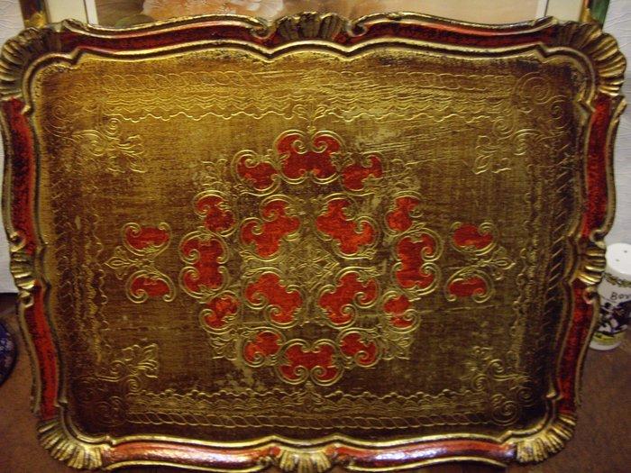 歐洲古物時尚雜貨 方型 大托盤 擺飾品 古董收藏