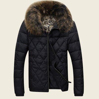 羽絨外套 中長款夾克-韓款時尚修身毛領男外套2色72aj17[獨家進口][米蘭精品]