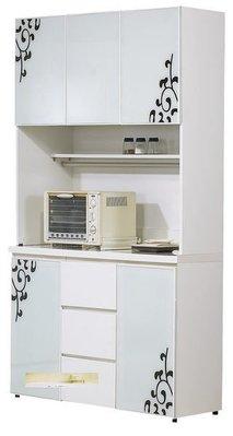 北歐時尚簡約鋼琴烤漆4尺白色收納碗盤櫃/餐櫃