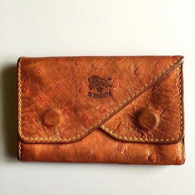 IL BISONTE牛皮壓鴕鳥紋雙層卡夾.名片夾(已售出)