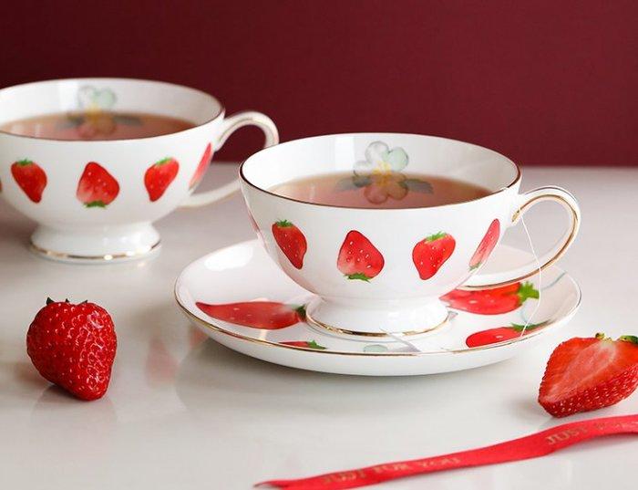 可愛草莓清新咖啡杯  白色  紅色  咖啡杯  花茶杯  草莓  少女心  奶茶杯  杯子 餐具【小雜貨】