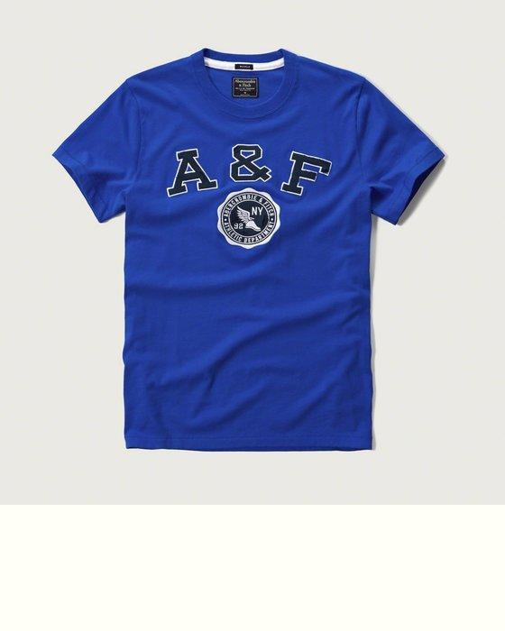 Maple麋鹿小舖 Abercrombie&Fitch *AF 寶藍色電繡貼布徽章短T*( 現貨S/M/L/XXL號 )