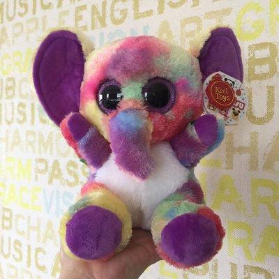 ❤Lika小舖❤高約20公分 現貨一隻 歐洲帶回 英國知名品牌Keel toys 兒童玩偶 彩色大象布偶娃娃 高雄可自取