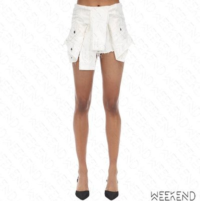 【WEEKEND】 ALEXANDER WANG 襯衫綁腰效果 牛仔 短褲 熱褲 白色 19秋冬