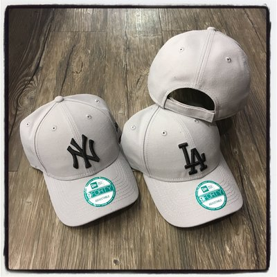 【Dangerous】NEW ERA MLB 紐約洋基/洛杉磯道奇 NY/LA灰底黑字 9FORTY 彎帽 魔鬼氈 老帽