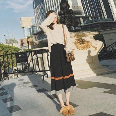 毛衣套裝女 兩件式秋冬裝復古晚晚風森女系氣質范加裙子長裙-小精靈
