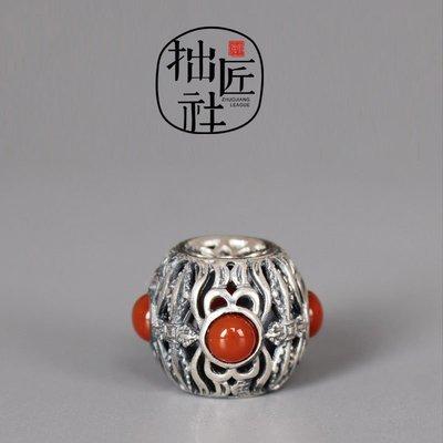 原創純手工制925銀鑲嵌南紅燈籠隔珠 diy菩提手串頂珠高端配珠