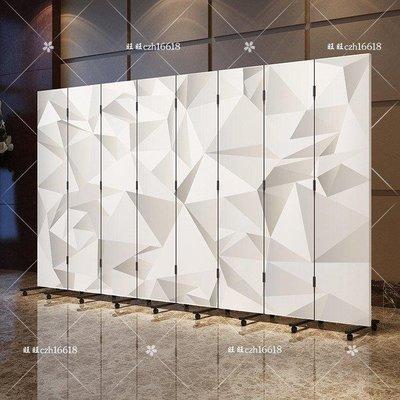 哆啦本鋪 可折疊移動推拉3D白色屏風隔斷酒店酒樓臥室客廳簡約布藝折屏 最後一天8折D655