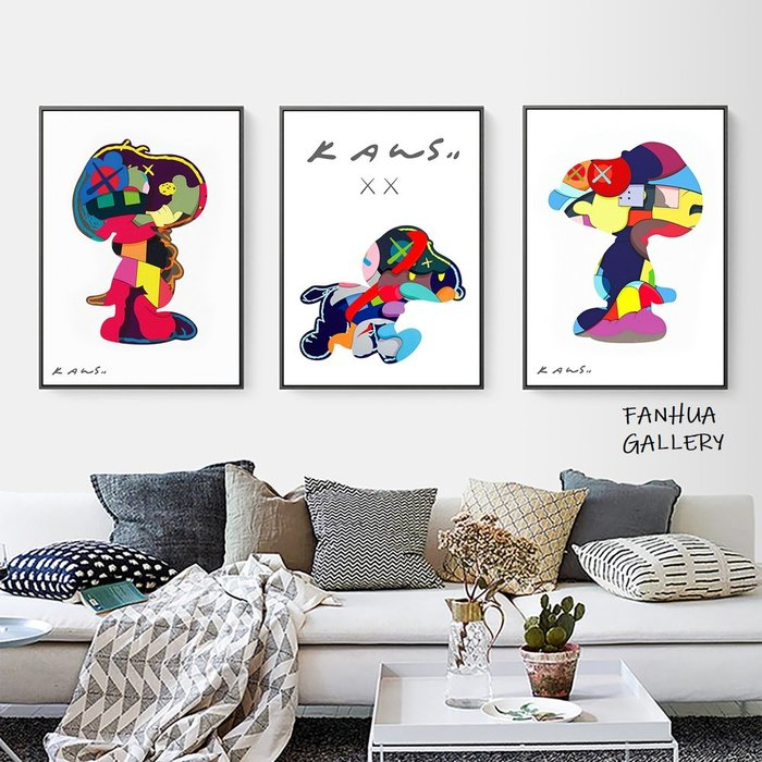 C - R - A - Z - Y - T - O - W - N kaws史努比版畫小眾藝術畫兒童房裝飾畫北歐波普風格snoopy掛畫美式色彩卡通民宿房間壁畫